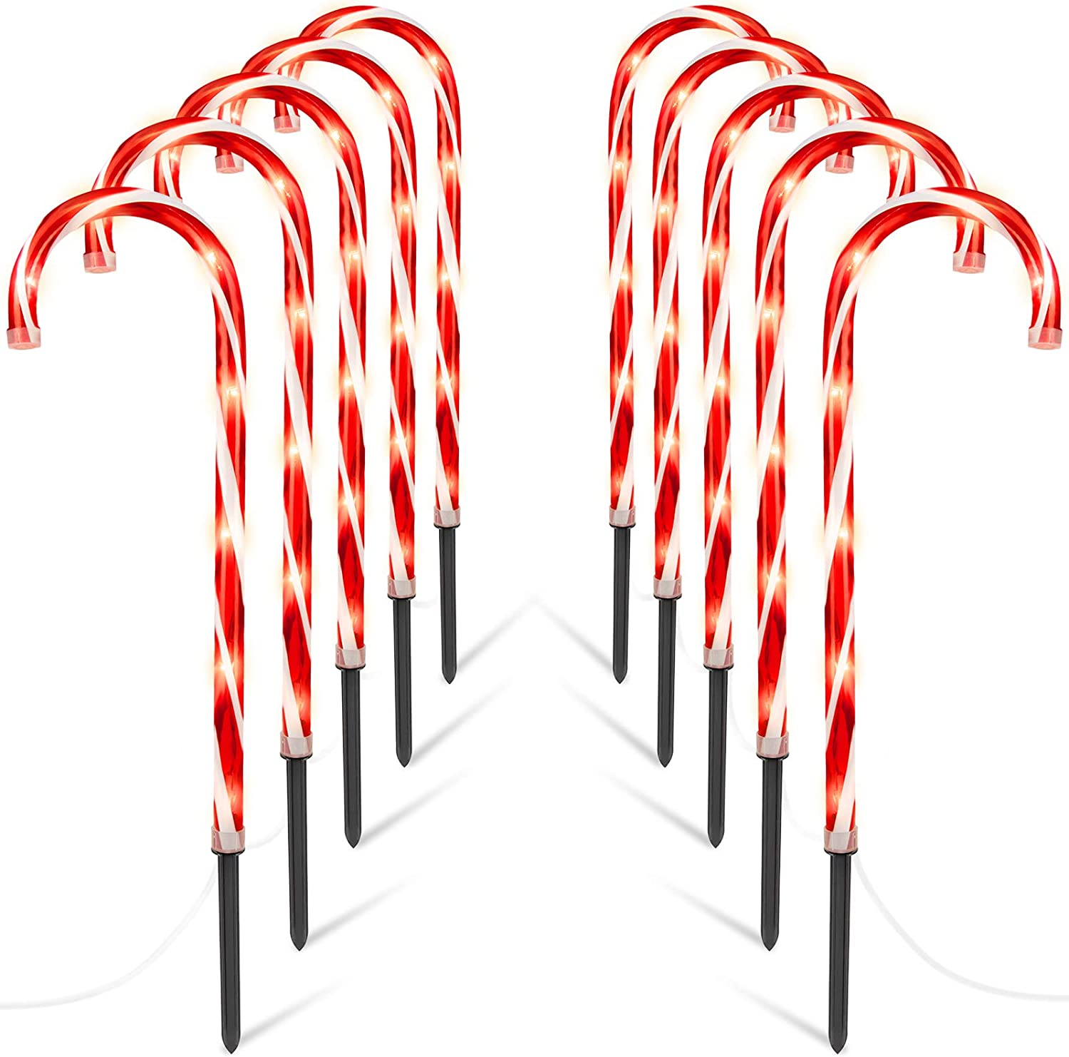 Candy Cane Pathway Markers Lights - Brightown 10 Pack 28