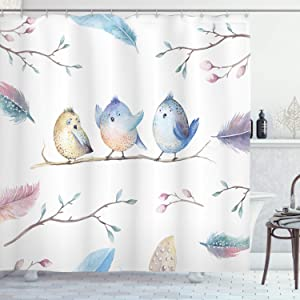 Ambesonne Animal Shower Curtain, Hand Drawn Birds Sitting on Branch Cartoon in Boho Style Watercolors Leaves Feathers, Cloth Fabric Bathroom Decor Set with Hooks, 70