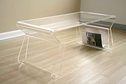 Superb Acrylic Clear Coffee Table With Magazine Rack