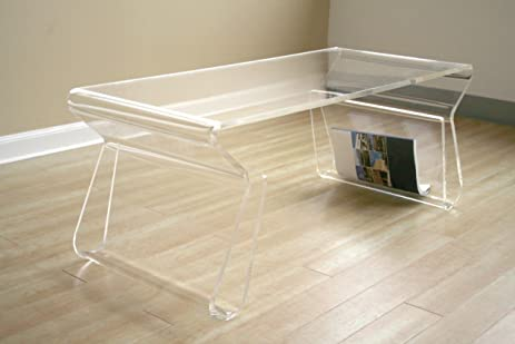 Acrylic Clear Coffee Table With Magazine Rack