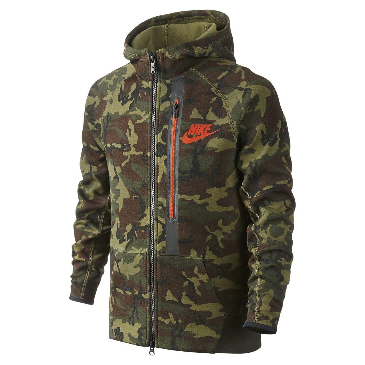 9fb6425dda1f Amazon.com  Nike Youth Boys Tech Fleece Allover Print Full-Zip Hoodie  716805-355 (Large) Camo Green  Clothing
