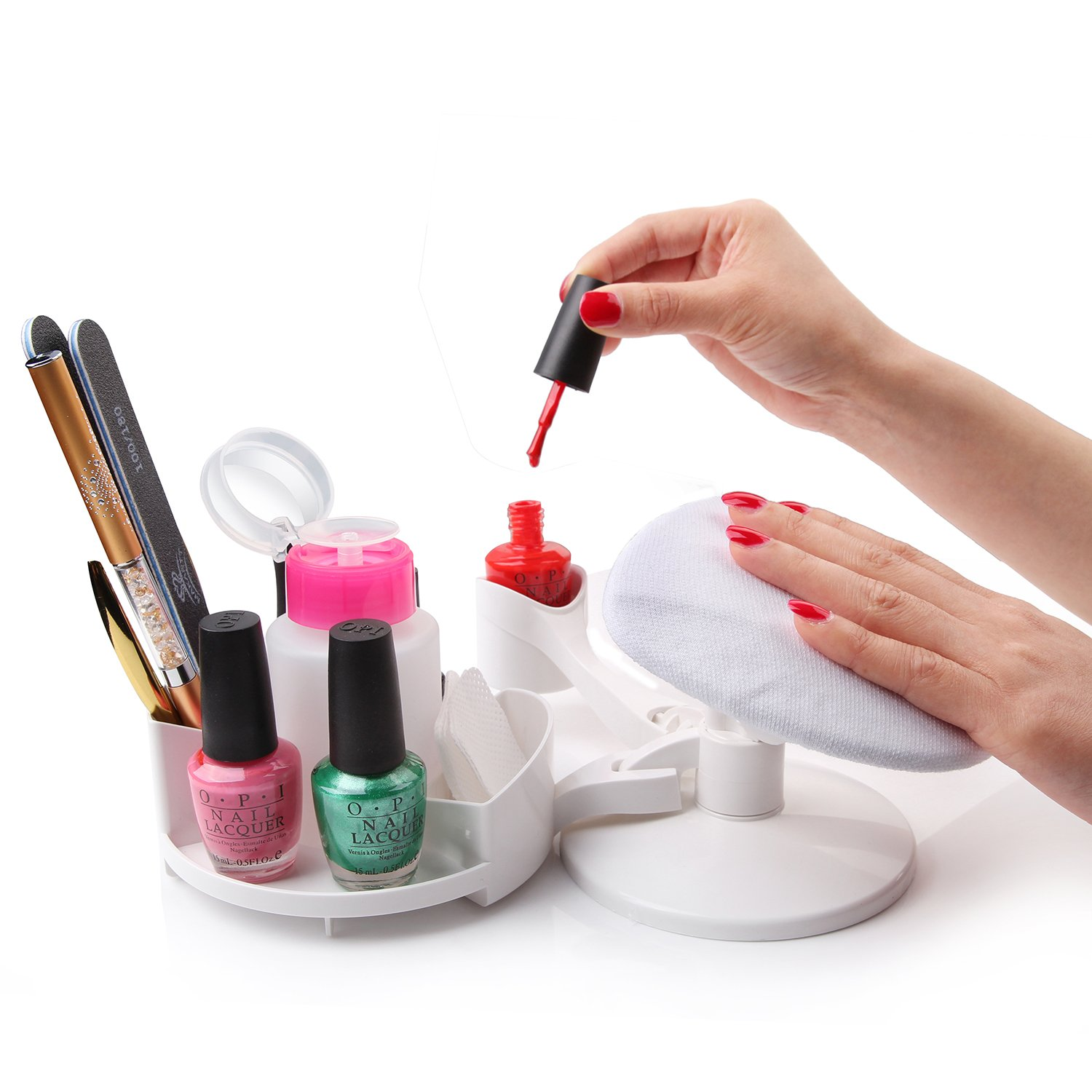 Makartt Nail Base Manicure Pedicure Studio with Accessory Holder and Multi angle Rest- for Home DIY Nail Art