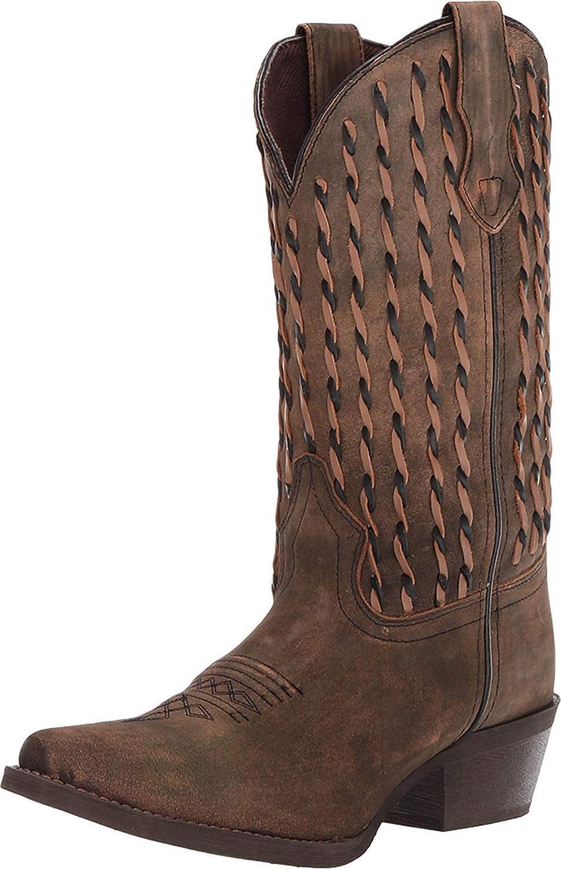 Laredo Womens Tan/Brown Cowboy Boots Leather Snip Toe
