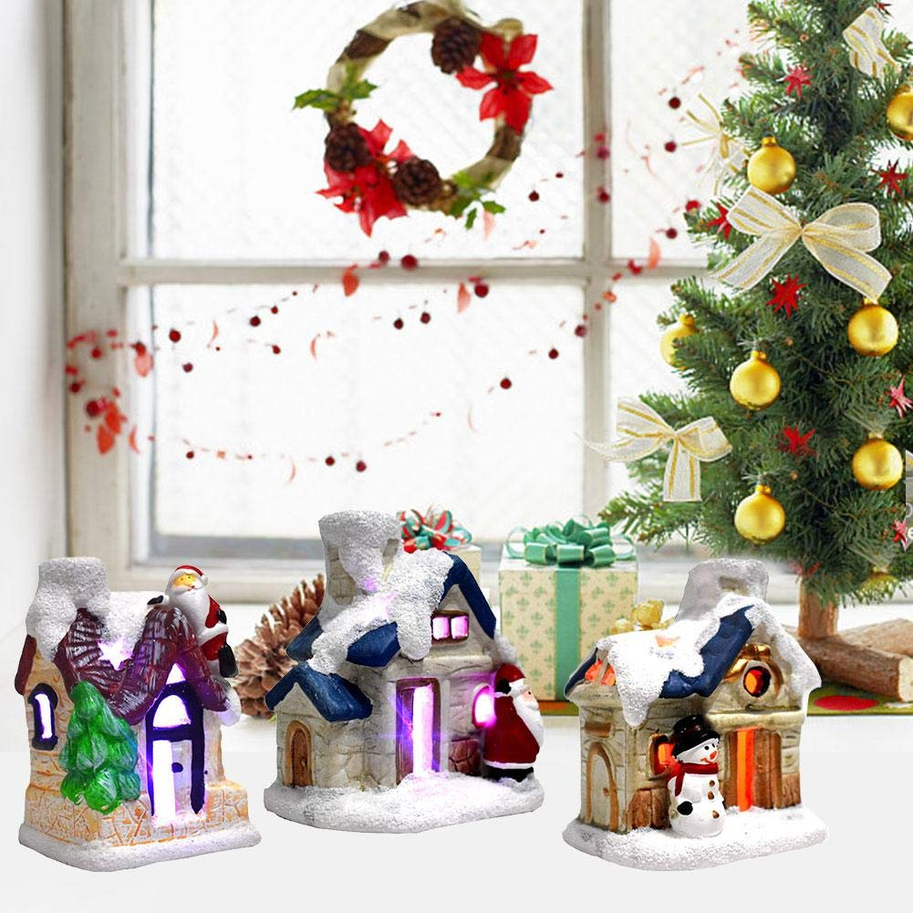 xiliary No/ël illumin/é la maison du p/ère No/ël No/ël maisons de bonhomme de neige Figurines de No/ël Accessoires pour village accessoires de paysage Set cosy avec LED sallument