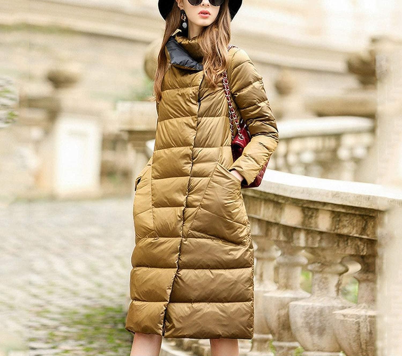 Alovelycloud Women nach unten Jacket lange Coat Winter Warm Double Sided White Duck nach unten Plus Size Snow