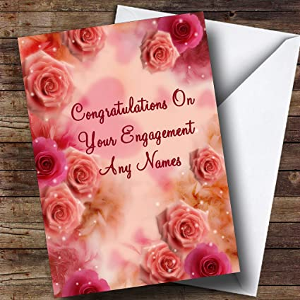 Amazon pretty pink flowers romantic personalized engagement pretty pink flowers romantic personalized engagement greetings card m4hsunfo