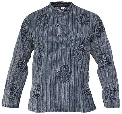 bc97ee5de044ed Little Kathhmandu Men s Striped Stonewashed Symbols Full Sleeve Grandad  Shirt Black Small