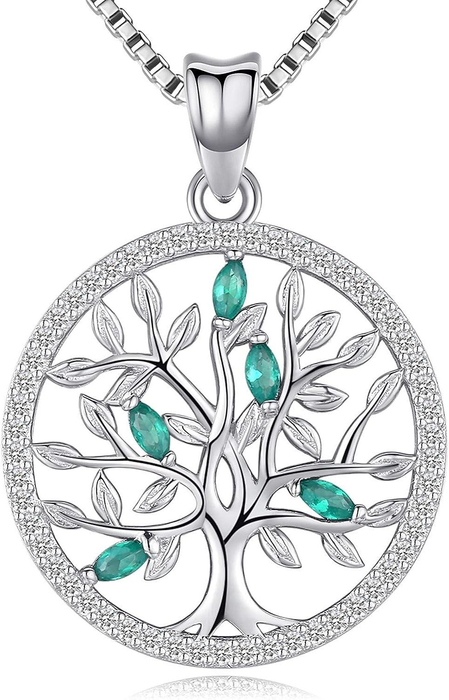 Collar de árbol de la vida para mujeres y niñas, colgante de plata de ley, regalo de joyería con infinitas circonitas cúbicas coloridas para novia, hija, mamá, esposa