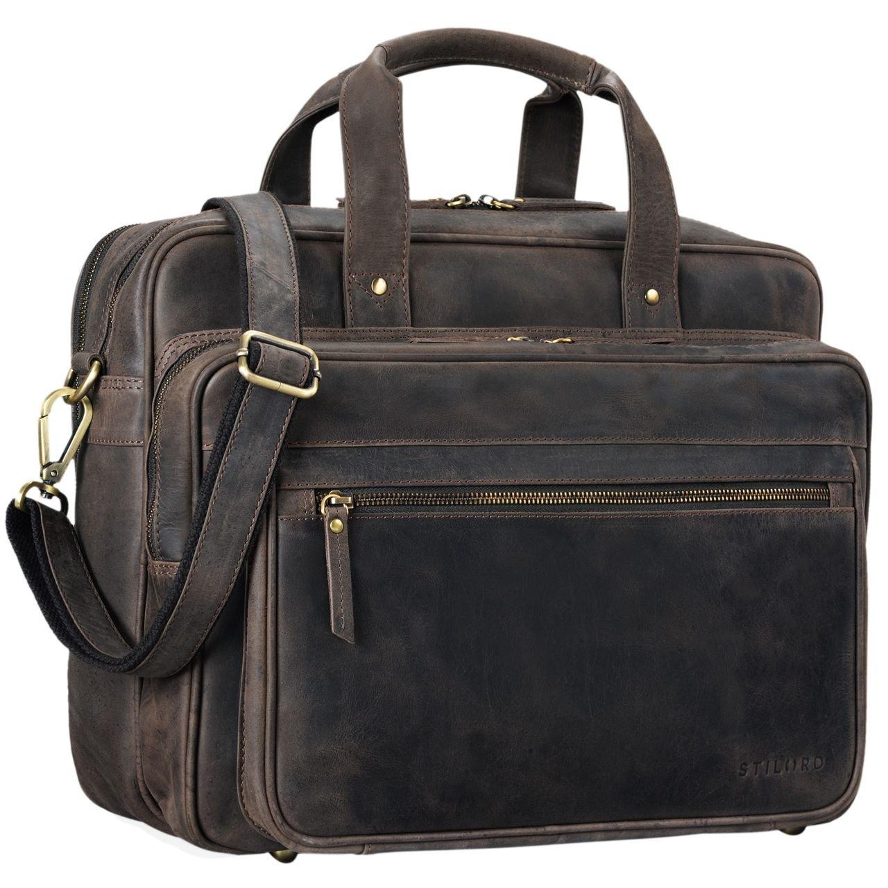 STILORD 'Walt' Vintage Aktentasche Leder Herren Damen Lehrertasche XL groß Büro Business Umhängetasche für 15,6 Zoll Laptop Echt Leder , Farbe:dunkel - braun