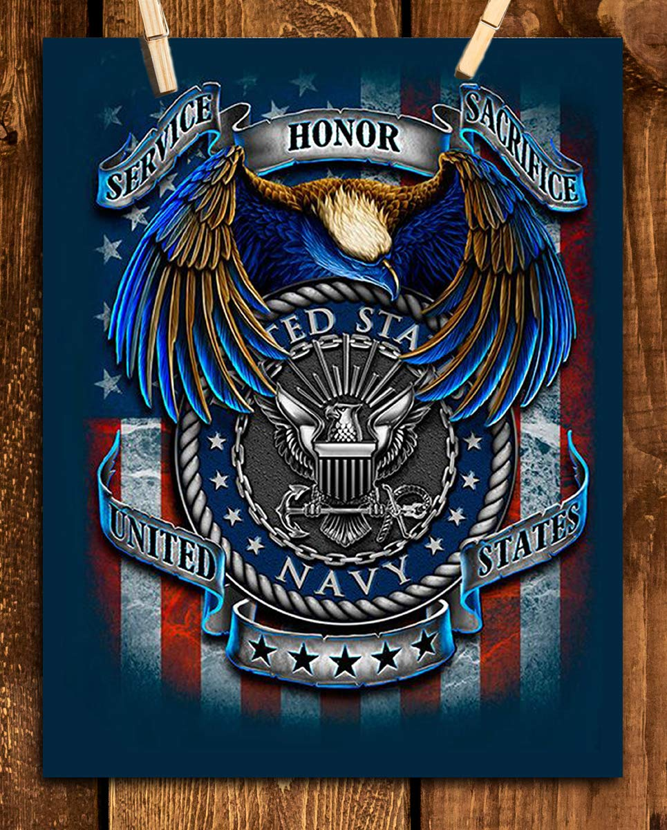 "U.S. Navy Creed-SSS Poster Print- 8 x 10""- Naval Wall Art Prints-Ready To Frame-""Service-Honor-Sacrifice"" Beliefs with Eagle & Flag. Home-Office-Military Decor. Great Gift for Your Sailors!"