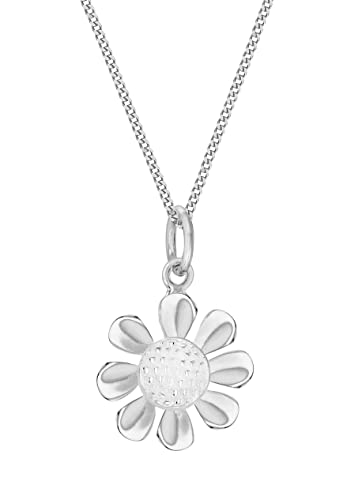 Tuscany Silver Sterling Silver Yellow and White Daisy Pendant on Chain Necklace of 46cm/18 CYqS9JO