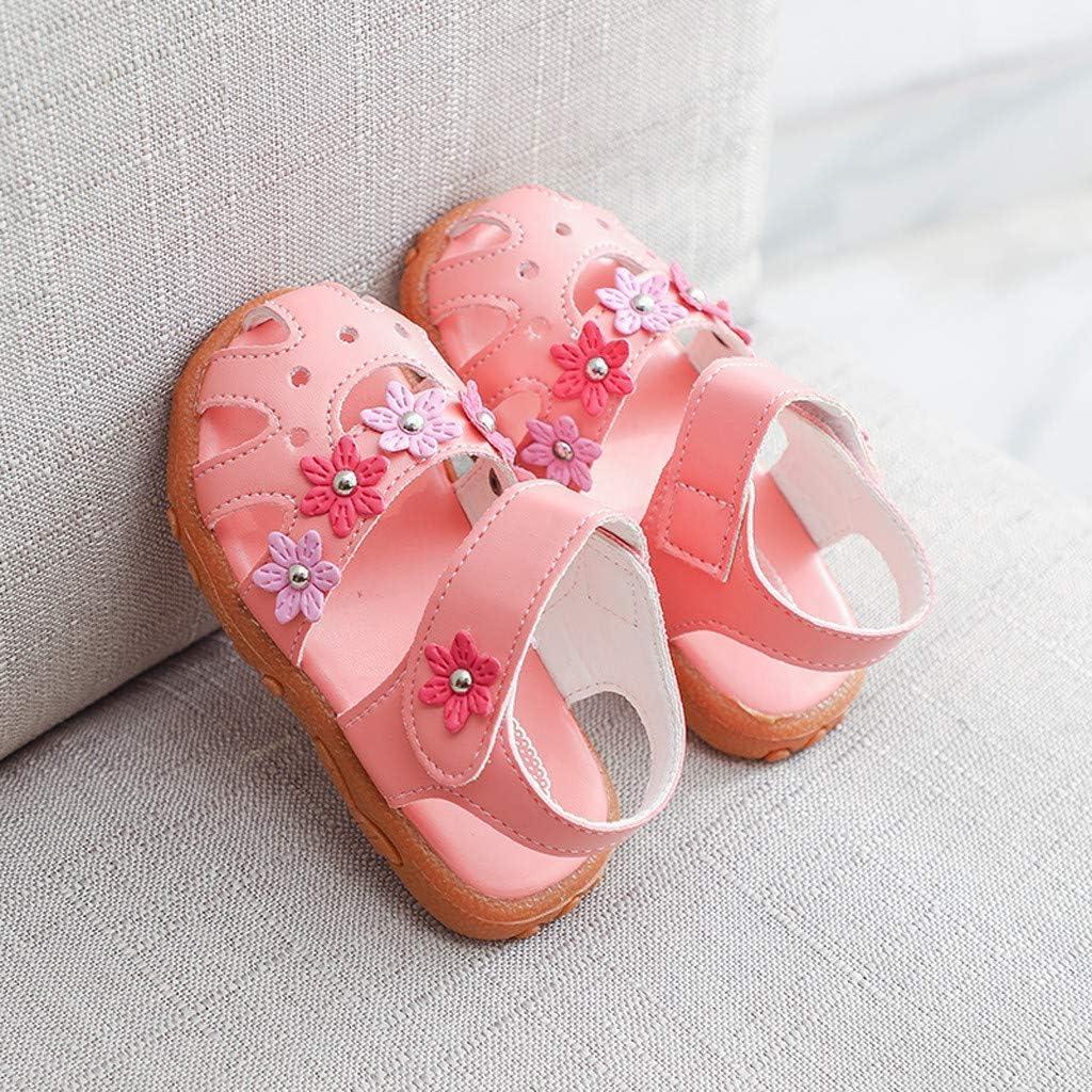 JiaMeng Baby Sandalen M/ädchen Neugeborenes Baby Lauflernschuhe Sommer Leder Strand Sandalen Blumen Hausschuhen Anti-Rutsch Weiche Sohle Schuhe mit Klettverschluss