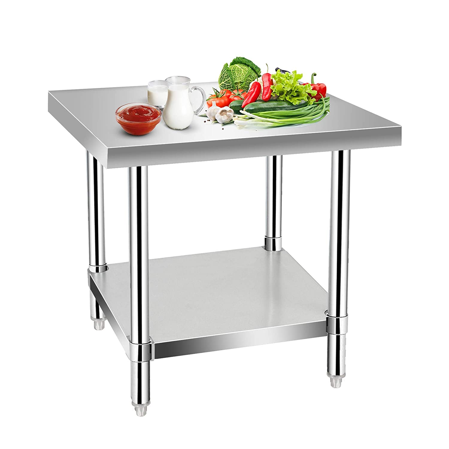Commercial Kitchen Prep & Work Table, KITMA Stainless Steel Food Prep Tables, 30 x 30 Inches,NSF