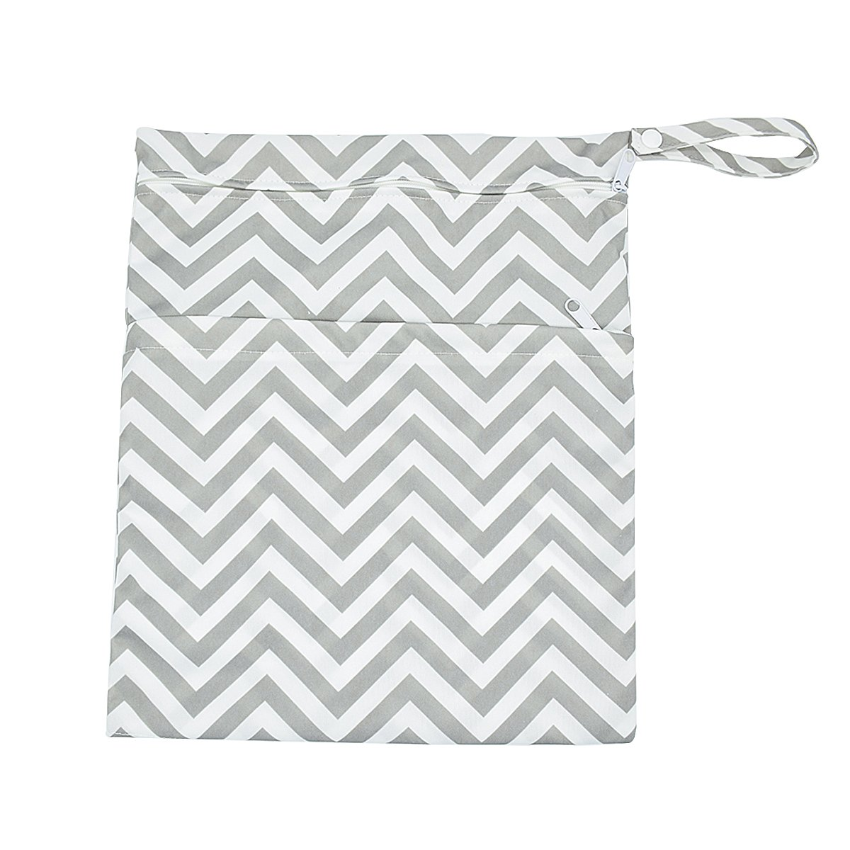 Blue Chevron and Spindrift Baby Wet Bag Dry Bag Splice Cloth Diaper Wet Bags Waterproof Small Size with Zipper Snap Handle Pack of 2