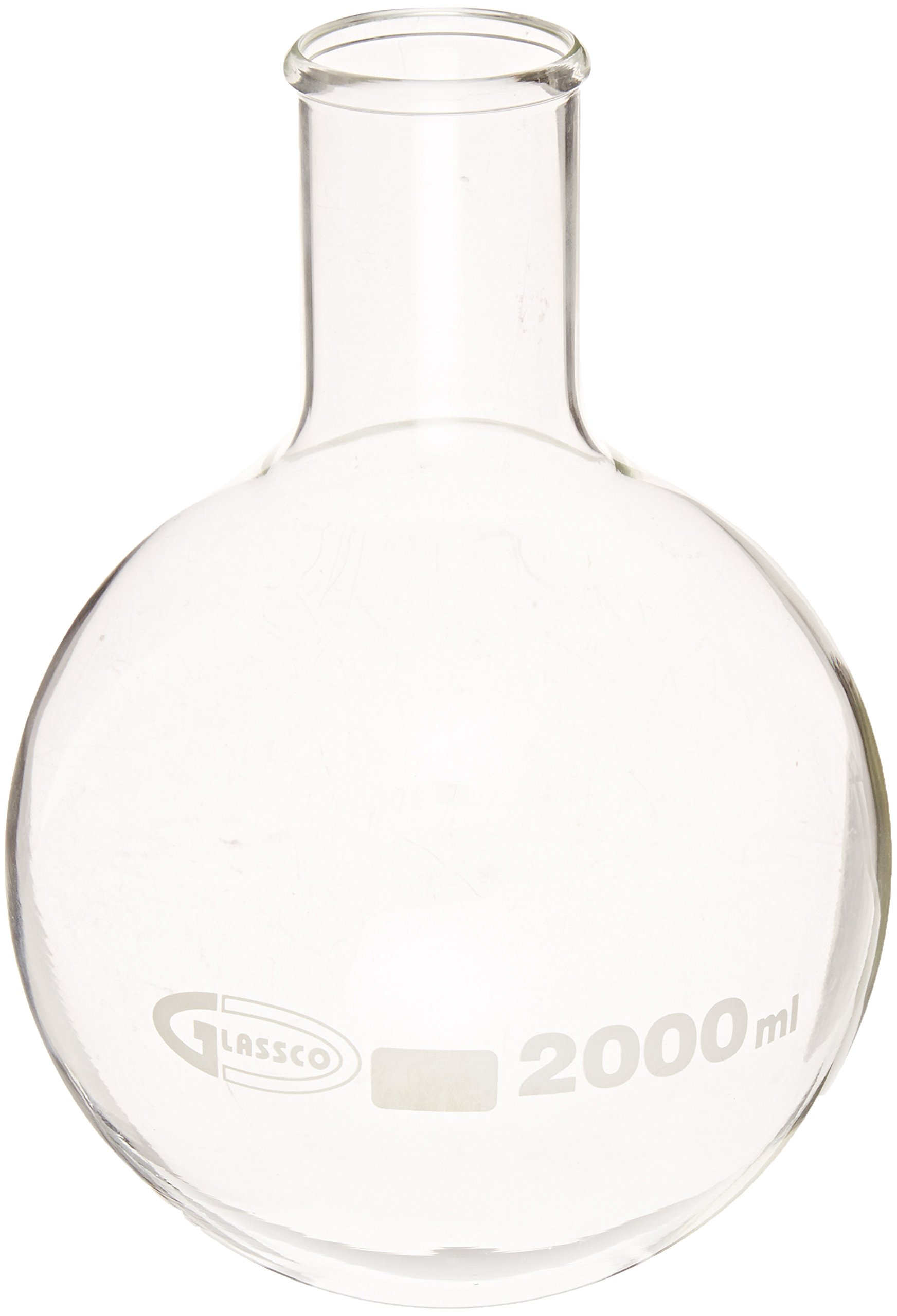 United Scientific FG4260-2000 Borosilicate Glass Round Bottom Boiling Flask, 2000ml Capacity