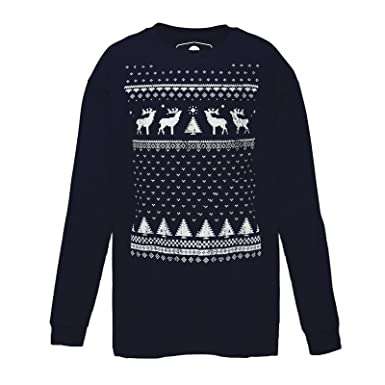 7e662431f54 Jolly Glow in The Dark Fair Isle Style Christmas Reindeer Long Sleeve  Tshirt - Perfect Alternative to The Christmas Jumper  Amazon.co.uk  Clothing