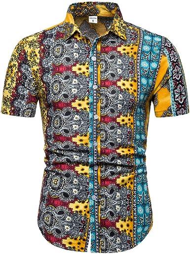 Gusspower Camiseta Casual Hombres Originales Estampada De Manga Corta Camisas de Hombre Impresión Hawaiana Verano Camisa Hombre Regular Fit Camisa Clásico Básico Botones para Hombre S-4XL: Amazon.es: Ropa y accesorios