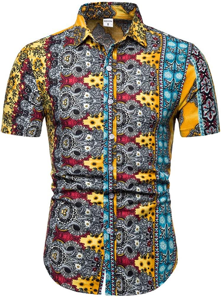 Camisas de Verano Tops para Hombres, Hawaiian Floral Manga Corta ...