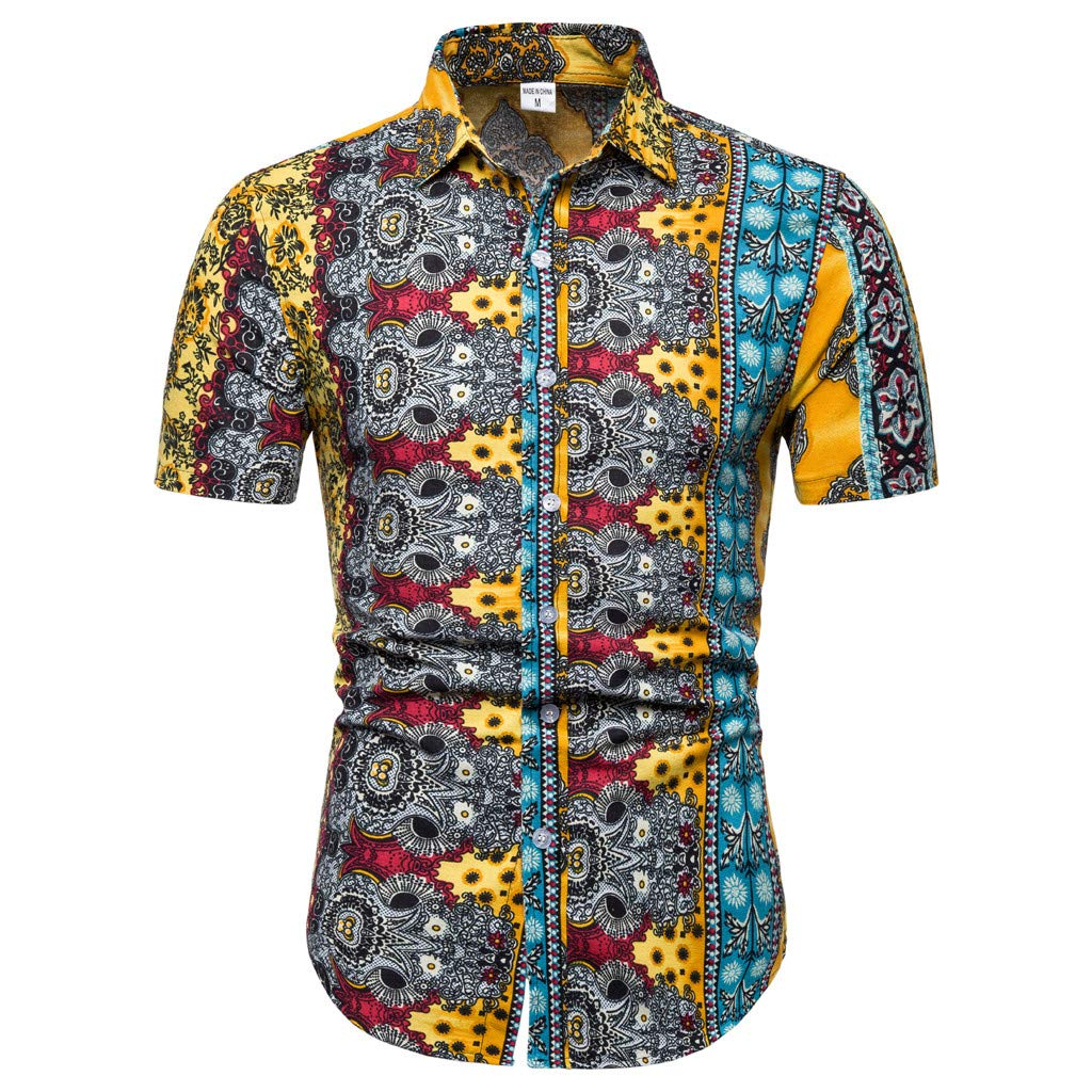 Fashuion! SFE Men Summer Shirts,Mens New Pattern Casual Printing Lapel Printing Short Sleeve Shirt