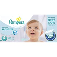 Pampers Swaddlers SENSITIVE Disposable Baby Diapers Size 4, Super Economy Pack, 108 Count