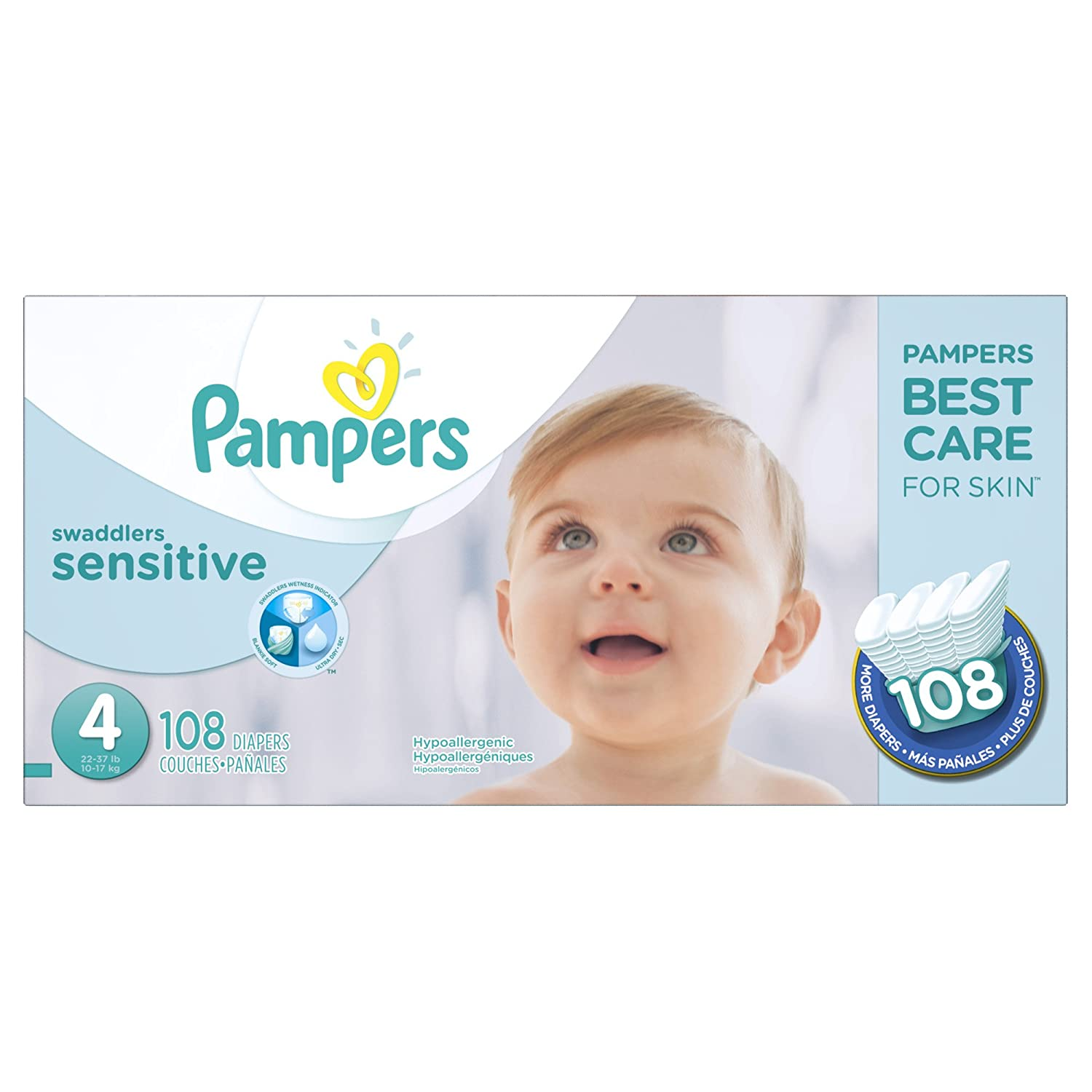 Pampers Swaddlers SENSITIVE Disposable Baby Diapers Size 4, Super Economy Pack, 108 Count 37000866244