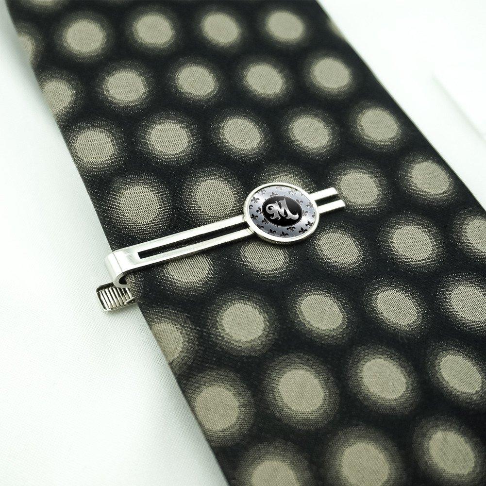 Letter M on Fleur De Lis Pattern Mens Tie Clip Tack Bar