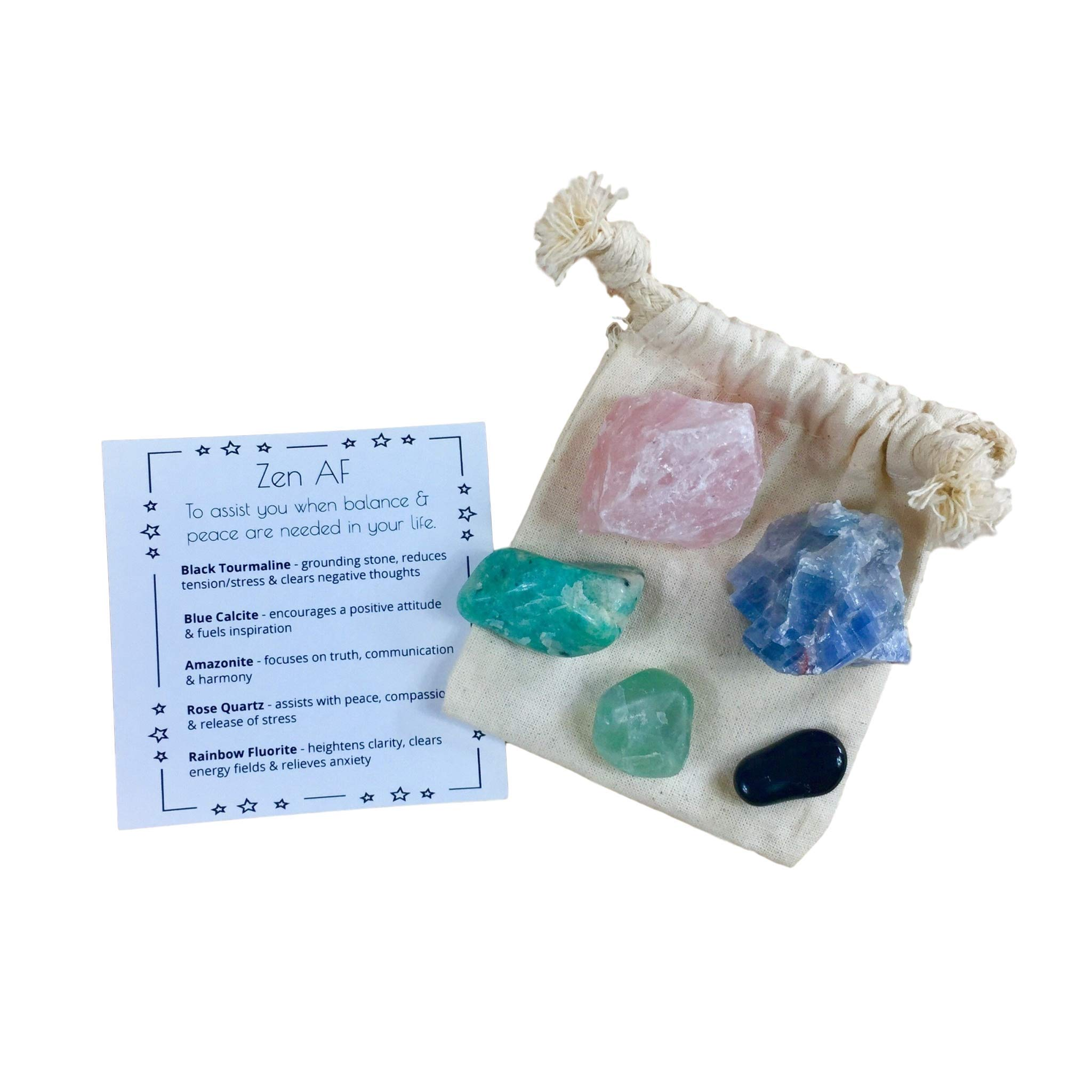 Crystal Stone Set - for Zen, Calmness, Meditation & Relaxing - Tumbled Gemstone Set/Thinking of You, Self Love, Self Care, Work Gift