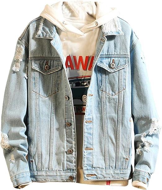 メンズ デニムジャケット 長袖 ダメージ ジャンパー アウター カジュアル ジャケット
