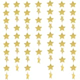 49 Feet Star Paper Garland Whaline Bunting Banner Hanging Decoration for Wedding Holiday Party Birthday, 2.75 Inches (Gold)