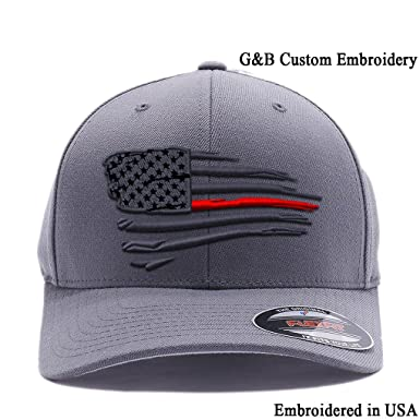 07025ed16ae3f Flexfit Thin Red Line Waving USA Flag. Embroidered. 6477 Wool Blend ...