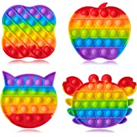 Push Pop Fidget Funny Bubble Fidget Sensory Rainbow Silicone Squeeze Toys Stress Relief and Anti-Anxiety Tools Novelty…