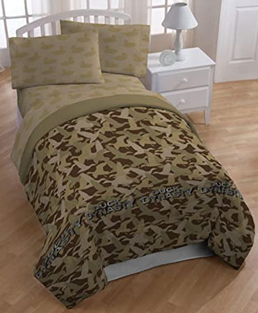 Beautiful Au0026E Networks Duck Dynasty Comforter Set, Queen, Tan Camo