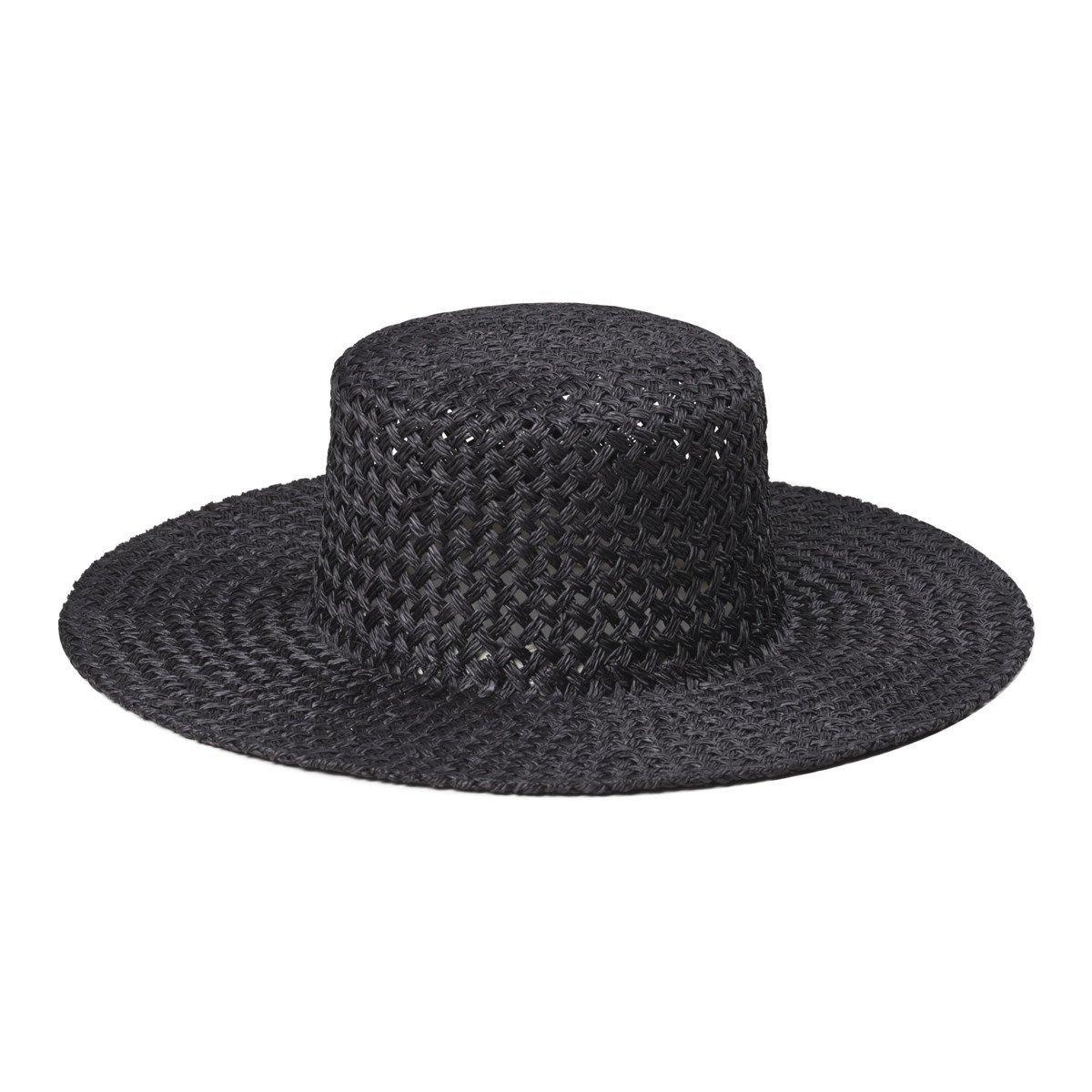 Lack of Color Women's Sunnydip Noir Straw Boater Black MD (57cm)