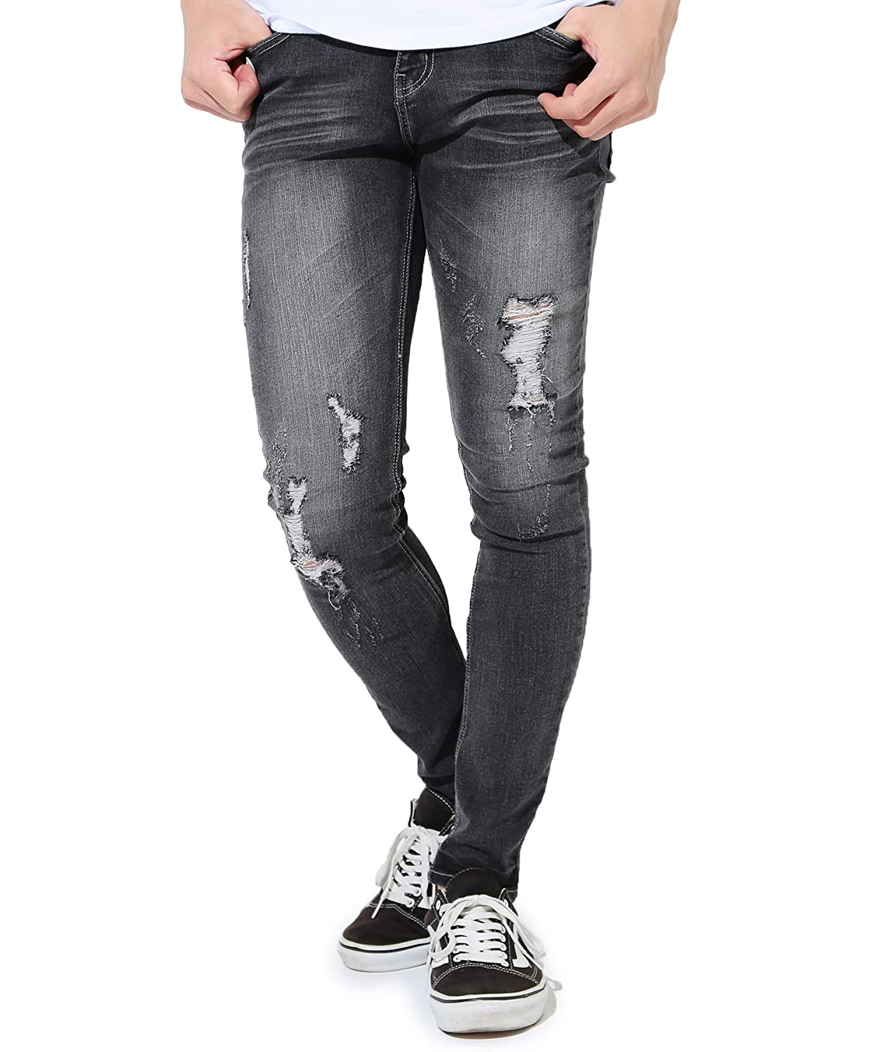 bf49f82573d JIGGYS SHOP Men's Non-Ripped and Ripped Jeans Denim Stretch and Ultra Slim  Fit Spandex Pants
