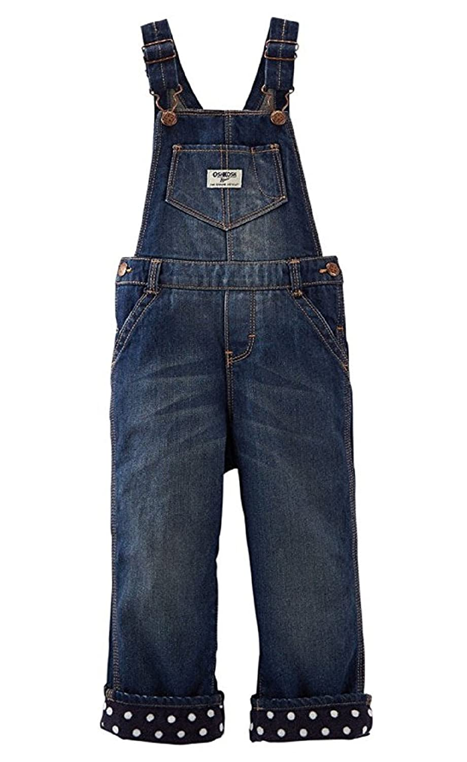 Polka Dot Lining OshKosh BGosh Baby Girls Fleece-Lined Denim Overalls
