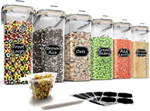 Large Cereal & Dry Food Storage Containers, Wildone Airtight Cereal Storage Containers for Sugar, Flour, Snack, Baking Supplies, Leak-proof with Khaki Locking Lids - Set of 6 (4L /135.3oz)