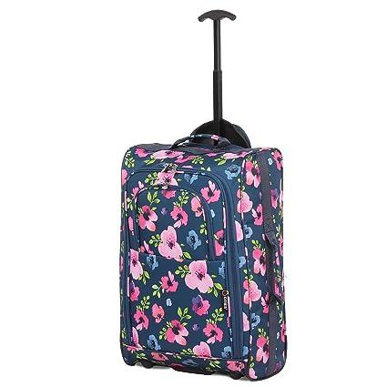 Bolsa de viaje para equipaje de cabina de 5 ciudades, diseño floral, color azul