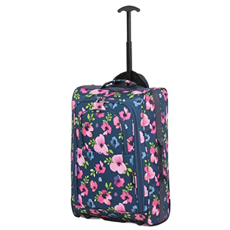 Bolsa de viaje para equipaje de cabina de 5 ciudades, diseño floral, color azul marino, 53,34 cm
