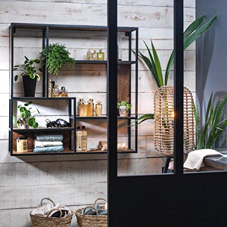 Made In Meubles Etagere Bois Metal Murale Asymetrique 7 Niches B