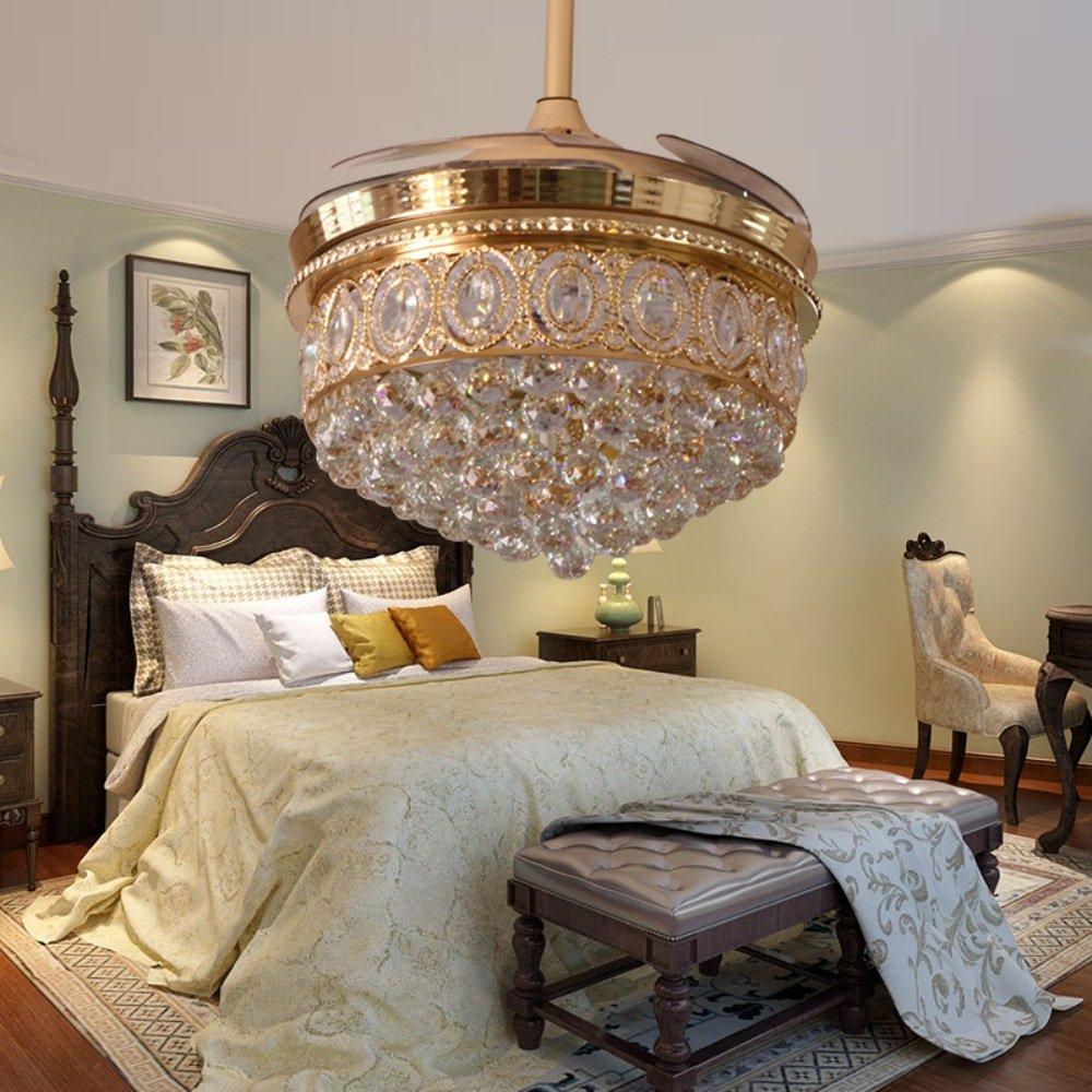 RS Lighting Living Room Crystal Fan Lights Luxury Stealth Blades Ceiling Fan Lights Bedroom Dining Room Study Fan Chandelier (42-Inch, Gold)
