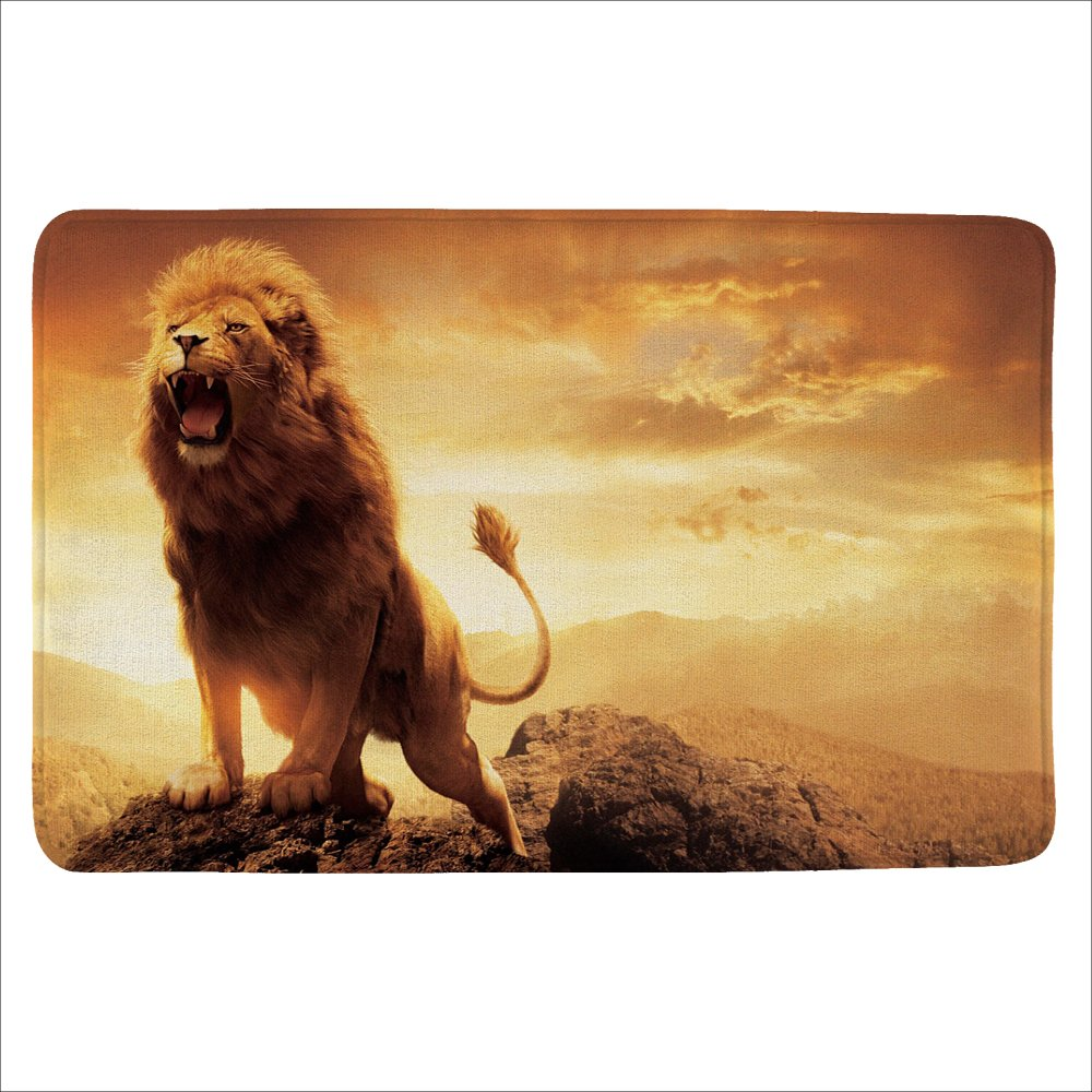 ALFALFA Bath Rug, Non Slip Mat, Bathmat, Doormat, Thick Synthetic Sponge And Super Soft Microfiber Flannel Fabric,Absorbent, Animal Design Theme 16''W x 24''L (40 x 60 CM)--The Peak Lion