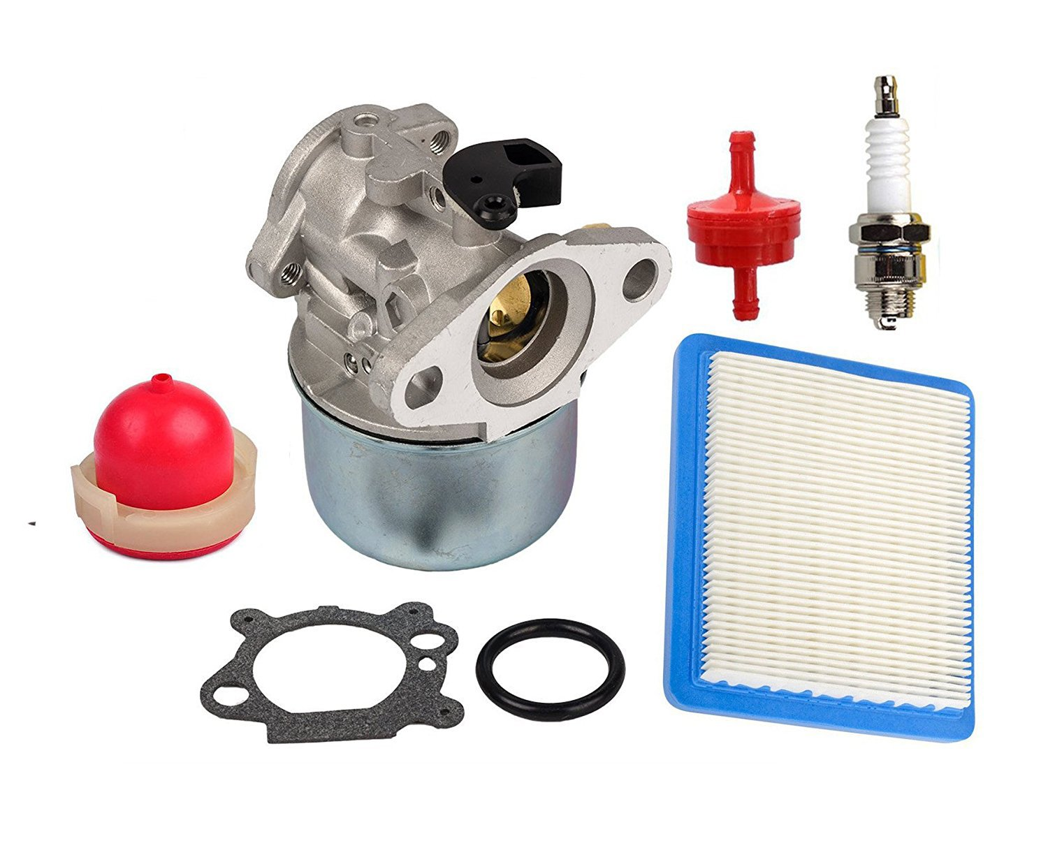 HIFROM 799868 Carburetor Carb Kit With 491588 Air Filter 694395 Primer Bulb 298090S Fuel Filter for Briggs & Stratton 4 to 7HP Engines
