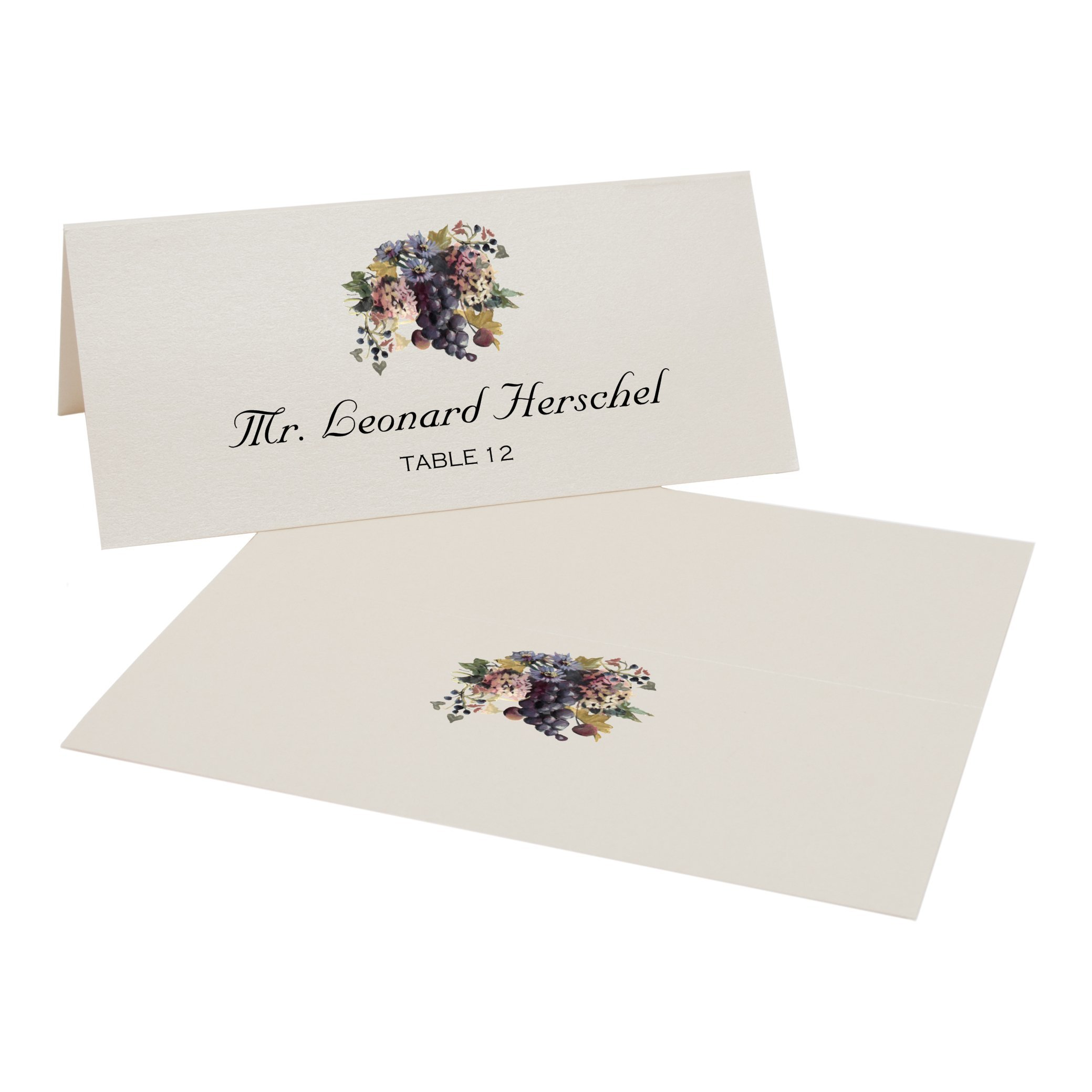 Wine Grapes and Chicory Place Cards, Champagne, Set of 375 by Documents and Designs