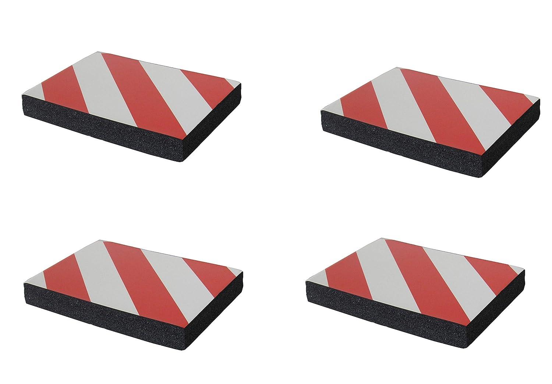 SNS SAFETY LTD FWP2418RWNx4 Protectoras paragolpes de pared parking, autoadhesivas, fabricado en grueso goma espuma, para aparcamientos, industrias, garajes y almacenes, 24x18x3 cm, color rojo/blanco (Paquete de 4 piezas) CDS
