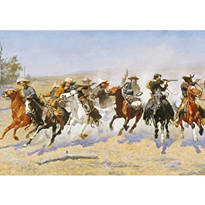 Puzzles For Adults Jigsaw Puzzles 1000 Pieces For Adults Kids– Western Cowboy Horse Scene Oil Painting Style Jigsaw Puzzle Game Toys Gift: Toys & Games