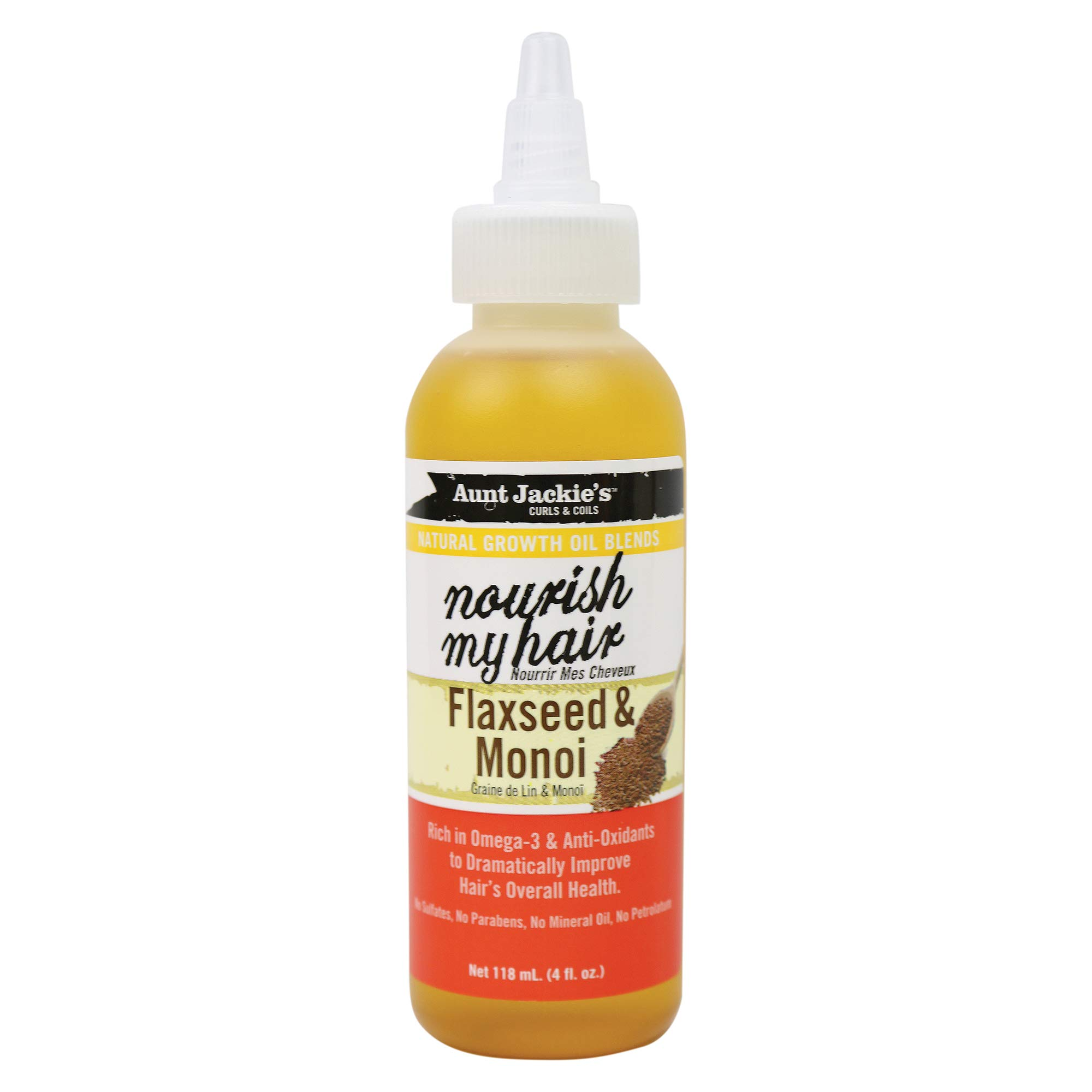 Aunt Jackie's Natural Growth Oil Nourish My Hair Flaxseed & Monoi, 4oz, 4 Oz