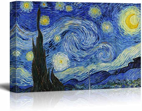 Amazon Com Wall26 Starry Night By Vincent Van Gogh Canvas Art Wall Art 32 X48 Home Kitchen
