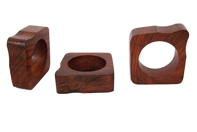 Smart Seller Point Handmade Q-Shaped Wood Napkin Ring Set with Napkin Rings