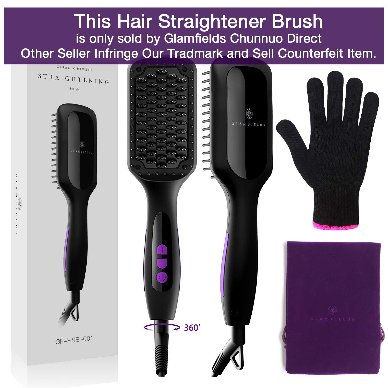 Ionic Hair Straightener Brush GLAMFIELDS Electrical Heated Irons Hair Straightening with Faster
