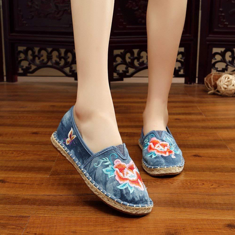 Fuxitoggo Bestickte Schuhe Sehnensohle Ethno-Stil weibliche Stoffschuhe Mode Mode Mode bequem lässig innerhalb der Erhöhung blau 35 (Farbe   - Größe   -) da668b